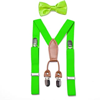 JAIFEI Toddler Kids 4 Clips Adjustable Suspenders and Matching Bow Tie Set