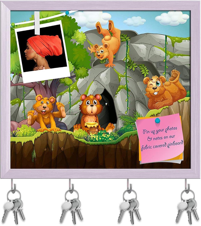 Artzfolio Four Bears Key Holder Hooks   Notice Pin Board   White Frame 18 X 16Inch
