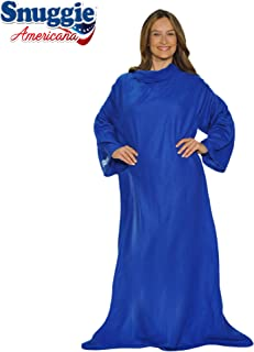 "Snuggie Americana- The Original Blanket with Sleeves, Warm Fleece, Fits Most Adults 71""x 54"", Blue- Bonus Warm Cozy Socks Included"