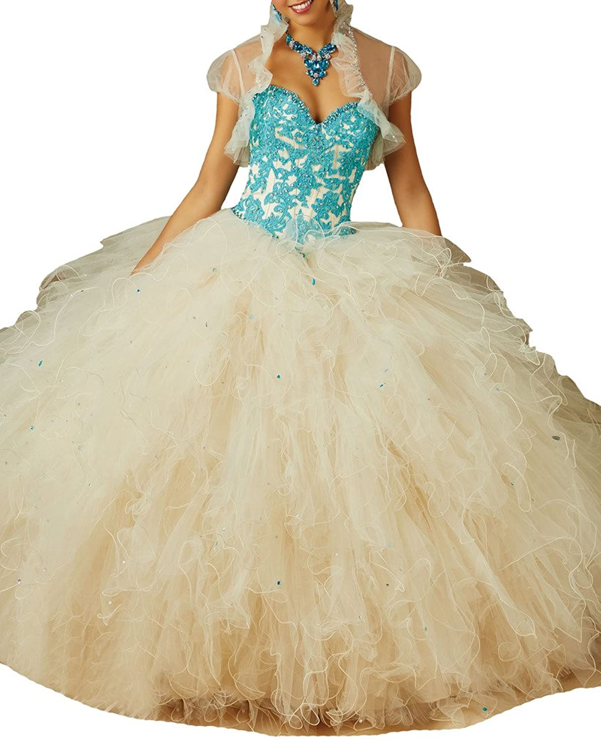 HSDJ Women's Stylish Ruffles Sweet 15 Sweetheart Quinceanera Ball Gowns