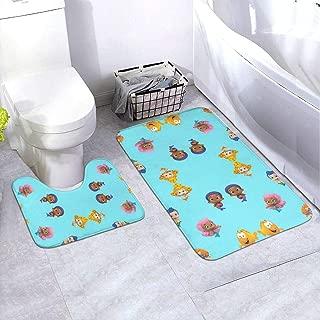 WSMZgwj Bubble Guppies Bathroom Rug Mats Set 2 Piece Anti-Skid Pads Bath Mat + Contour