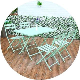 Living Equipment Table de salle à manger extérieure pliante avec 4 chaises Ensemble de salle à manger en fer et balcon de ...