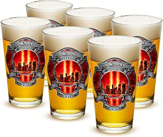 Pint Glasses – Firefighter Gifts for Men or Women – Red Tribute High Honor Firefighter Beer Glassware – Beer Glasses with Logo - Set of 24 (16 Oz)