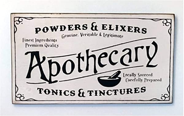 Powders Elixers Apothecary Vintage Wood Sign Rustic Wooden Signs Wood Block Plaque Wall Decor Art Home Decoration 14x24 Inch