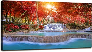 Wall Decorations for Living Room Waterfall Canvas Prints Red Tree Pictures for Living Room Wall Decor Modern Sunshine Photo Prints Large Artwork Wall Pictures for Bedroom Canvas Wall Art 24x48inch