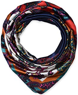 Designer Satin Women's Big Square Neck Scarf Headscarfs Ethnic Floral Navy by corciova