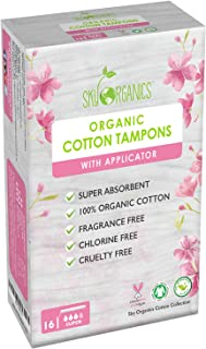 Organic All-Natural Cotton Tampons with Biodegradable Applicator (Super Absorbency) by Sky Organics, Chemical and Plastic-Free, Vegan & Cruelty-Free Tampons, Biodegradable Feminine Care (16 cnt)