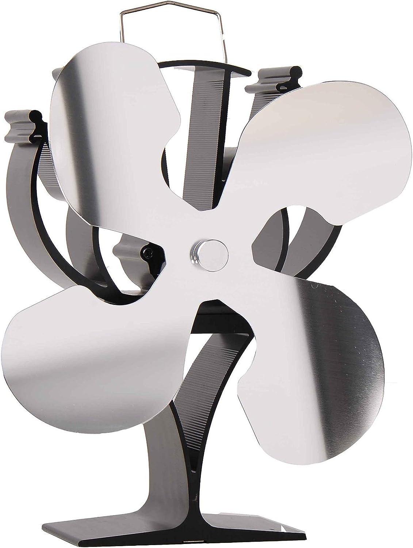 VODA New Designed 4 Blades Heat Powered Stove Fan for Wood Log Burner Fireplace - Eco Friendly(Nickel)