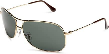 RAY-BAN RB3267 Aviator Metal Sunglasses, Gold/Green, 64 mm