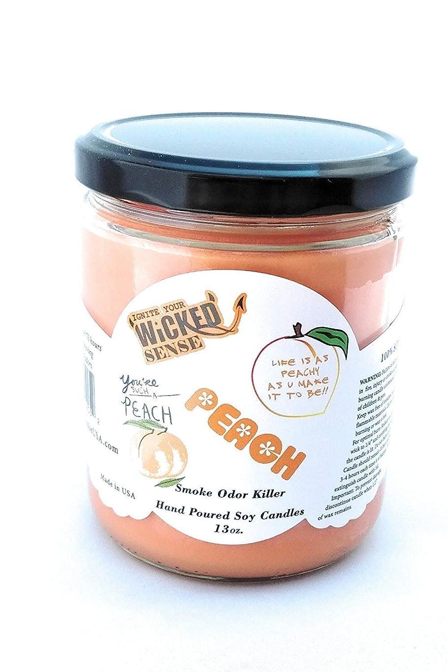 編集者見えないオープナーWicked Sense Peach Scented Candle大豆ワックス) 13 oz オレンジ