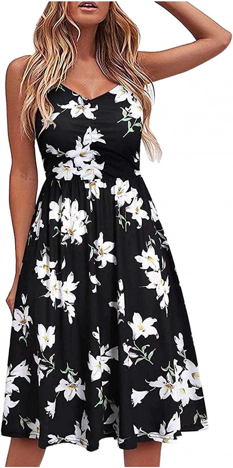 Gerichy Casual Dresses for Women Sleeveless Cotton Summer Beach Dress A Line Spaghetti Strap Sundresses with Pockets