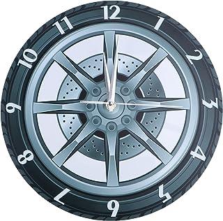 Wakauto Relógio de parede de garagem, relógio decorativo com aro de pneu, equipamento de borracha silencioso, relógio de p...