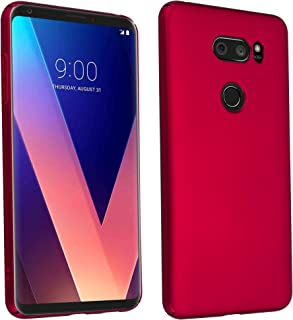 Cadorabo Case Works with LG V30 in Metal RED – Shockproof and Scratch Resistent Plastic Hard Cover – Ultra Slim Protective Shell Bumper Back Skin