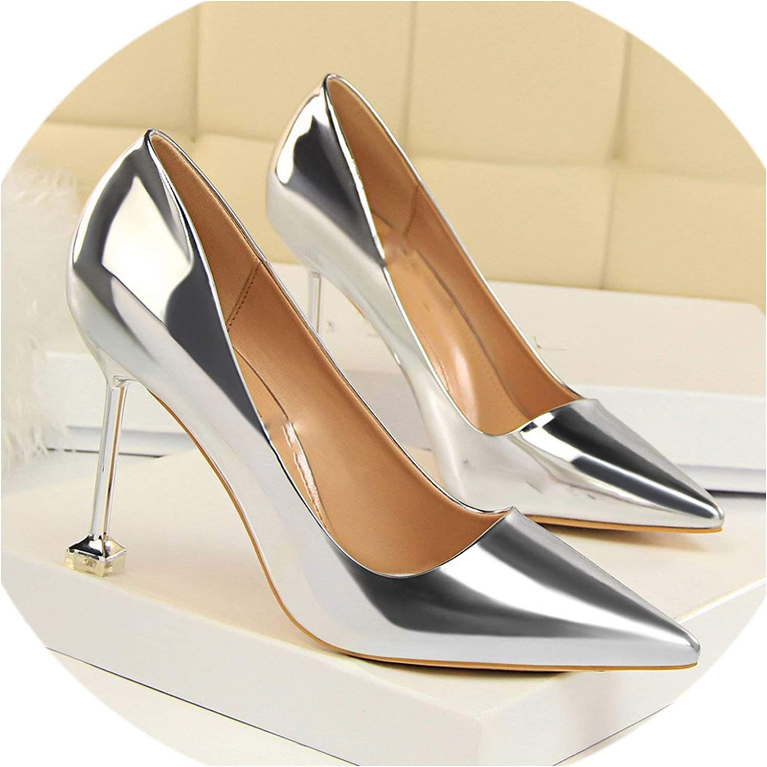 Sonder-Store Champagne Thin Heel Stiletto Woman shoes Sexy Point Toe High Heels