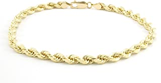 "10K Gold 3MM, 4MM, or 5MM Diamond Cut Rope Chain Necklace Unisex Sizes 7""-30"""