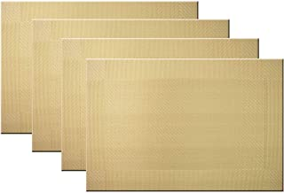 Bright Dream Placemats Washable Plastic Placemats Wipe Clean for Kitchen Table Heat-resistand Woven Vinyl Outdoor Table Mats 12x18 inches Set of 4(Gold)
