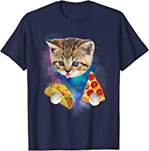 Funny Galaxy Cat Shirt | Space Cat Eat Pizza and Taco Shirt