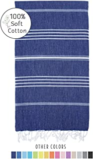 Fringe Home 100% Soft Cotton Turkish Towel 39 x 71 inches Lightweight Striped Peshtemal Bath Beach Towel (Navy Blue, 1)
