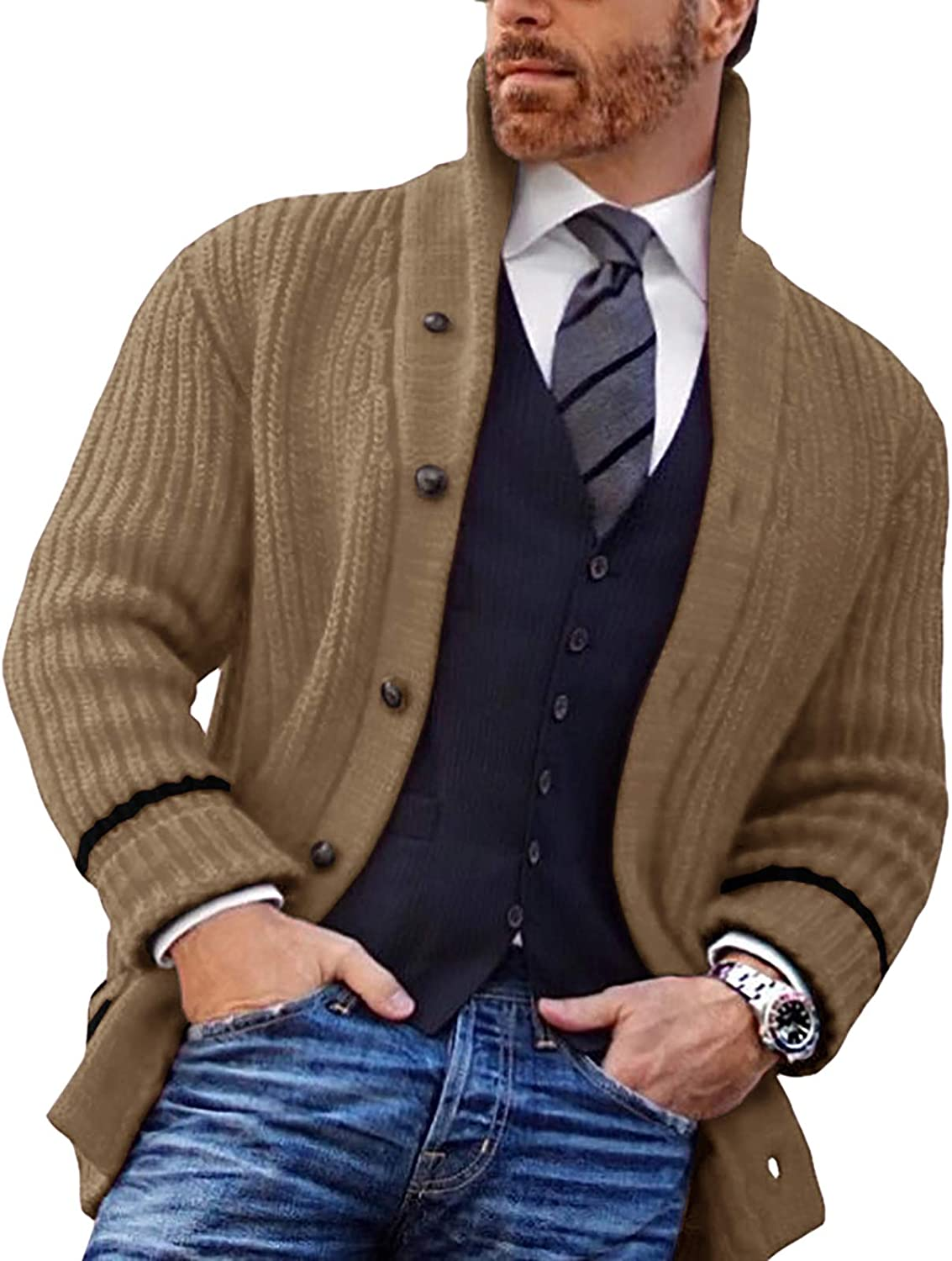 Men's Shawl Cardigan Casual Comfortable Fit Button Cable Denver Special sale item Mall Knitted