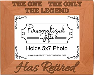 Retirement Gifts Dad Funny The One The Only The Legend Has Retired Natural Wood Engraved 5x7 Landscape Picture Frame Wood