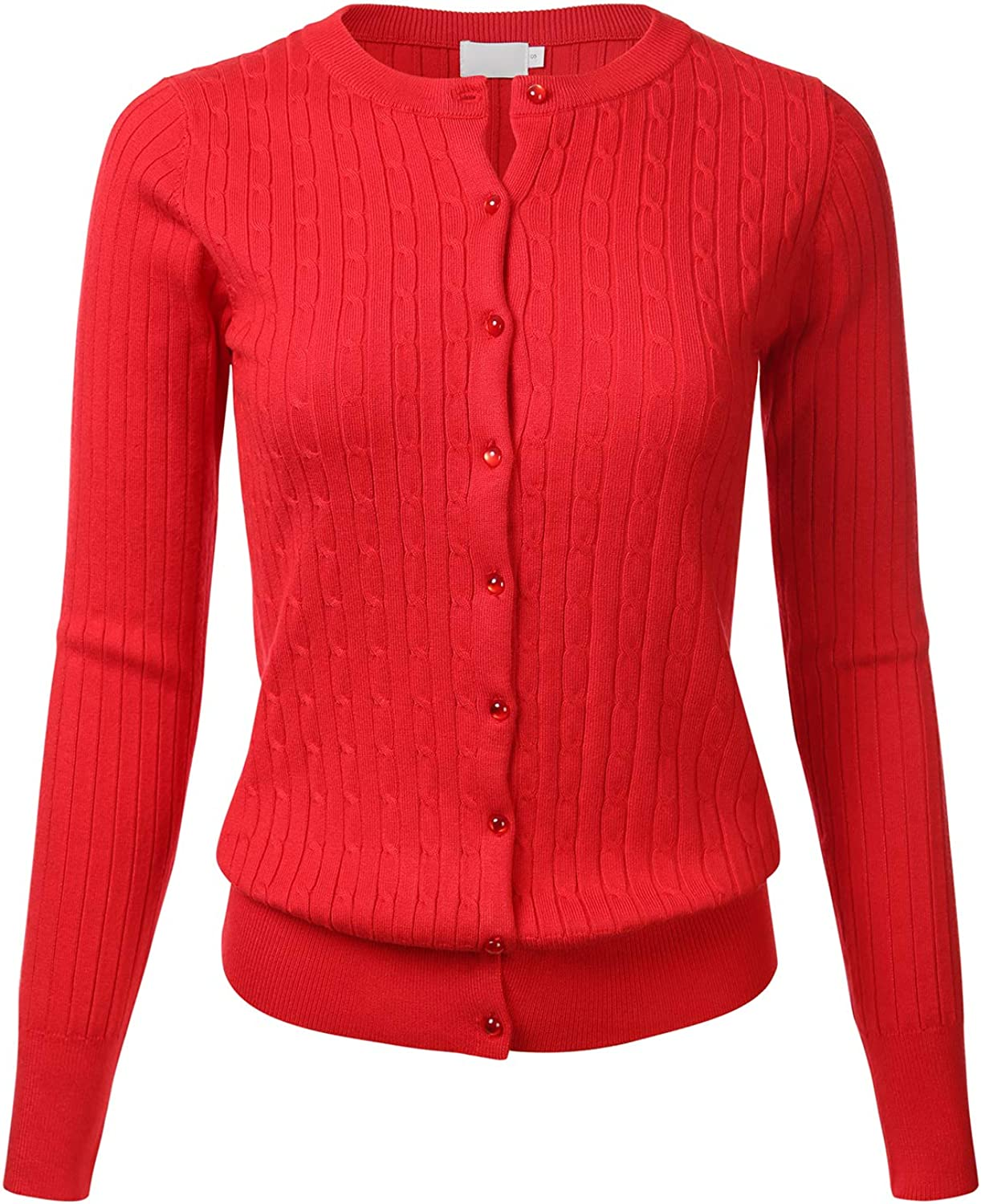 Women's Classic Gem Button Long Sleeve Crew Neck Cable Knit Fitted Cardigan Sweater (S3XL)