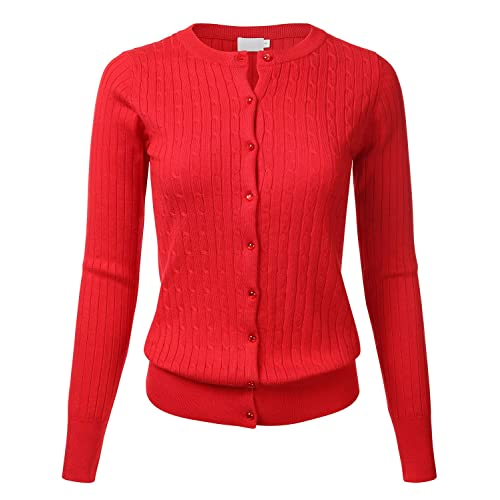 83eabeccf4 Women s Classic Gem Button Long Sleeve Crew Neck Cable Knit Fitted Cardigan  Sweater (S-