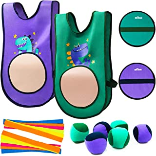 INPODAK Target Tag Vests, Self Stick Dodge Ball Set, Catch and Toss Ball Game, Indoor and Outdoor Party Activity Toy Kid C...