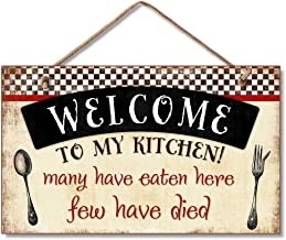Highland Graphics Welcome to My Kitchen Decorative Wood Wall Plaque with Braided Rope for Hanging Red, Black, Cream