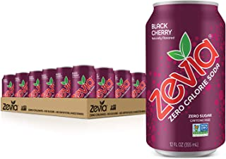 Zevia Zero Calorie Soda Can, Black Cherry, 12 Ounce Cans (Pack of 24)