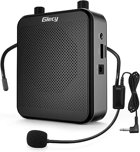 Giecy Amplificateur voix portable avec microphone casque 30W Batterie rechargeable 2800mAh Système de sonorisation am...