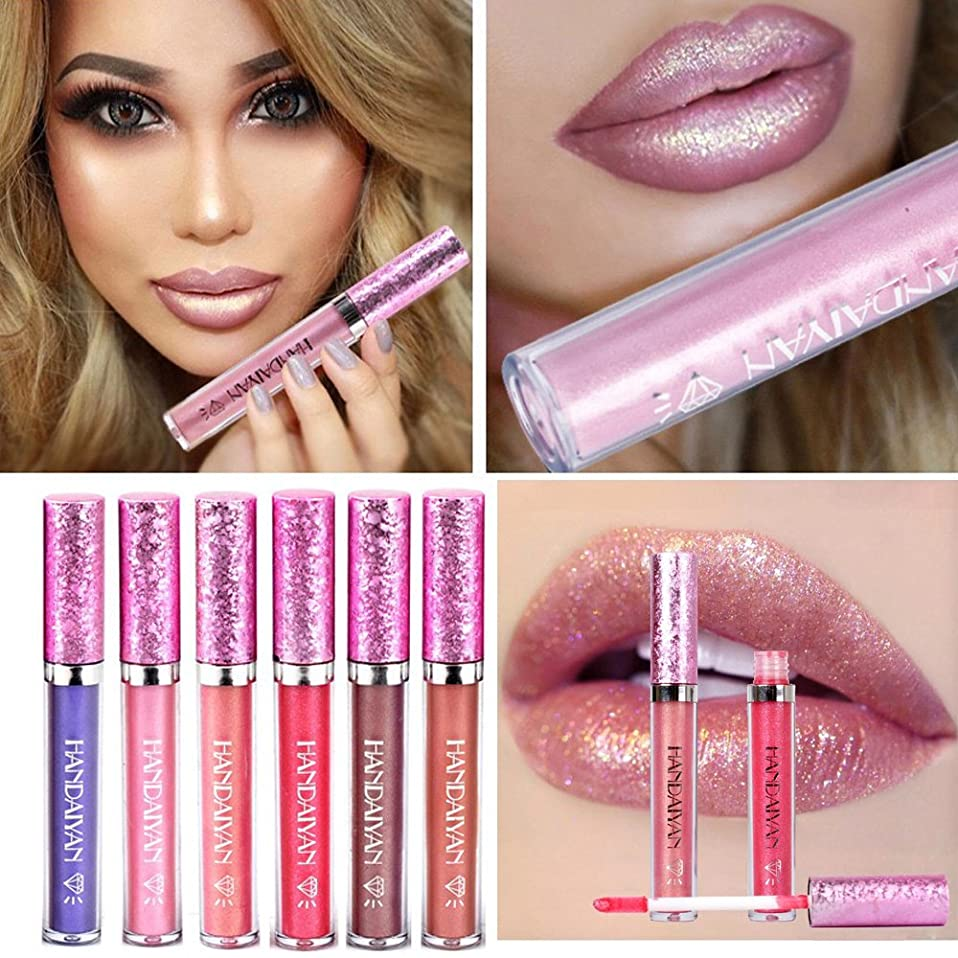 上向き種類ドレインHANDAIYAN Liquid Pearly Glitter Lipsticks Set - 6 pcs Long Lasting Nonstick Lip Gloss Mermaid Waterproof Lipstick Pen