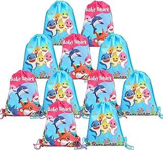 JOYMEMO 12er Pack Baby Shark Drawstring Rucksack, süße Shark Gift Favor Taschen, Leckerbissen Taschen für Jungen und Mädchen Birthday Party Supplies