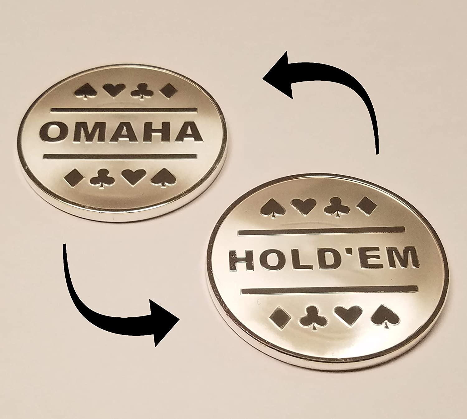 1x Omaha Texas Hold'em Silver Dealer Plated Great Button Metal Clearance SALE depot Limited time