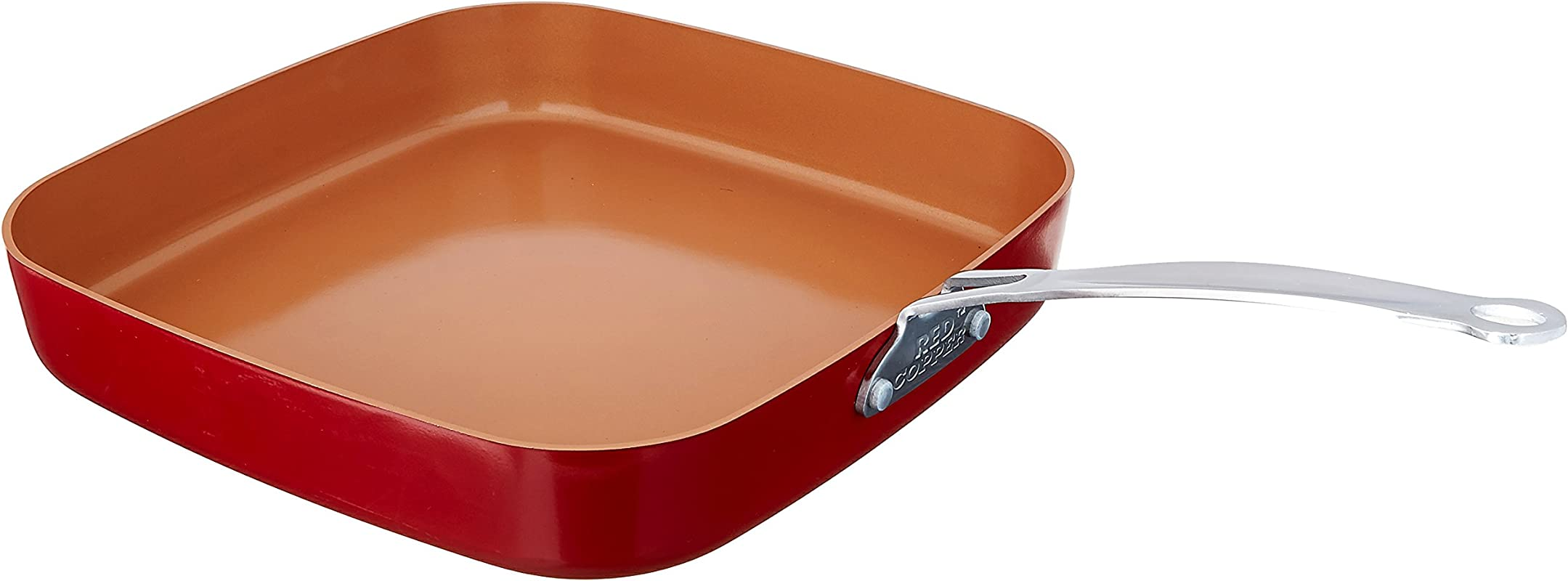Red Copper Cookware 10 And 12 Inch Square Frying Pan Set Of 2 By BulbHead