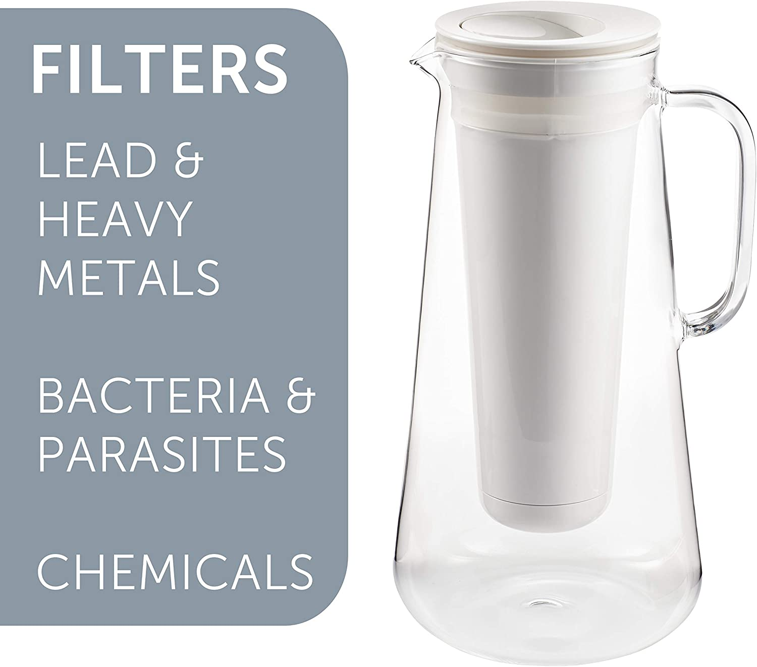 LifeStraw Home 7-Cup Glass Water Filter Pitcher Tested to Predect Against Bacteria, Parasites, Microplastics, Lead, Mercury, and a Variety of Chemicals (White)