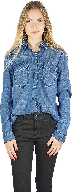 Vero Moda Camisa VMSAMMI Vaquera de Mujer. XL Azul ...