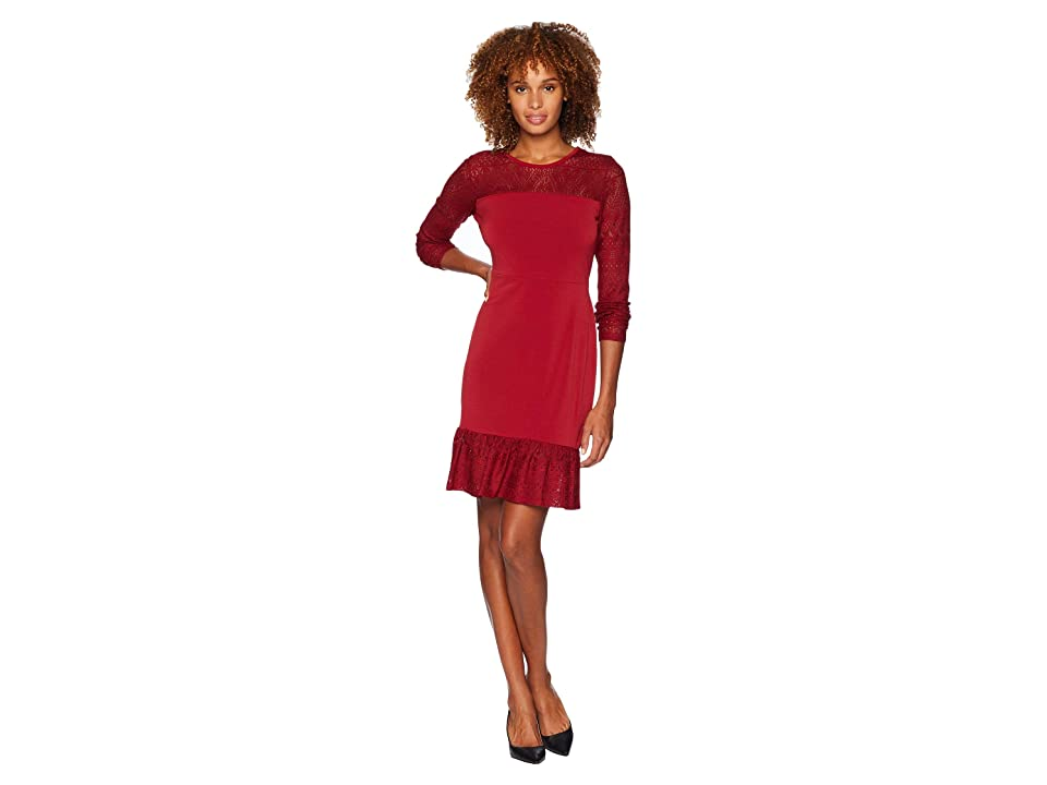 c3023210 MICHAEL Michael Kors Fabric Mix Long Sleeve Dress (Maroon) Women