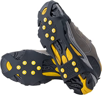 OuterStar Ice & Snow Grips Over Shoe/Boot Traction Cleat Rubber Spikes Anti Slip 10-Stud Crampons Slip-on Stretch Footwear S/M/L/X-L(Extra 10 Studs)