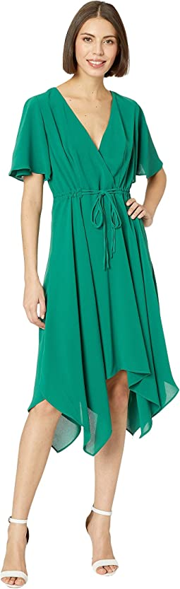 Gauzy Crepe Tie Waist Dress