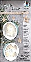 Light Boxes Reindeer and Santa Clause, material para 2 imágenes iluminadas, imágenes navideñas de ventanas, motivos de filigrana grabado con láser, diámetro de cada una: 15,3 cm, incluye luz LED