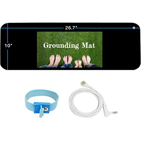 """Grounding Mat Kit -Universal Grounding Mat (10 x 26.7"""") for Healthy Grounding Energy with Grounding Wristband and 15ft Straight Cord, Reduce Inflammation, Improve Sleep and Helps with Anxiety"""