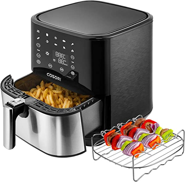 COSORI Stainless Steel Air Fryer 100 Recipes Rack 5 Skewers 5 8Qt Large Air Fryers XL Oven Oilless Cooker Preheat Alarm Reminder 9 Presets Nonstick Basket 2 Year Warranty ETL UL Listed