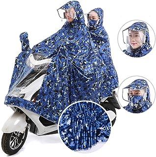 XRXY 増加ヘルメットタイプ2人オートバイのレインコート/ビッグハットクリエイティブファッションポンチョ/不浸透実用アンチドリフティングレインコート(8色オプション) ( 色 : D , サイズ さいず : 1# )
