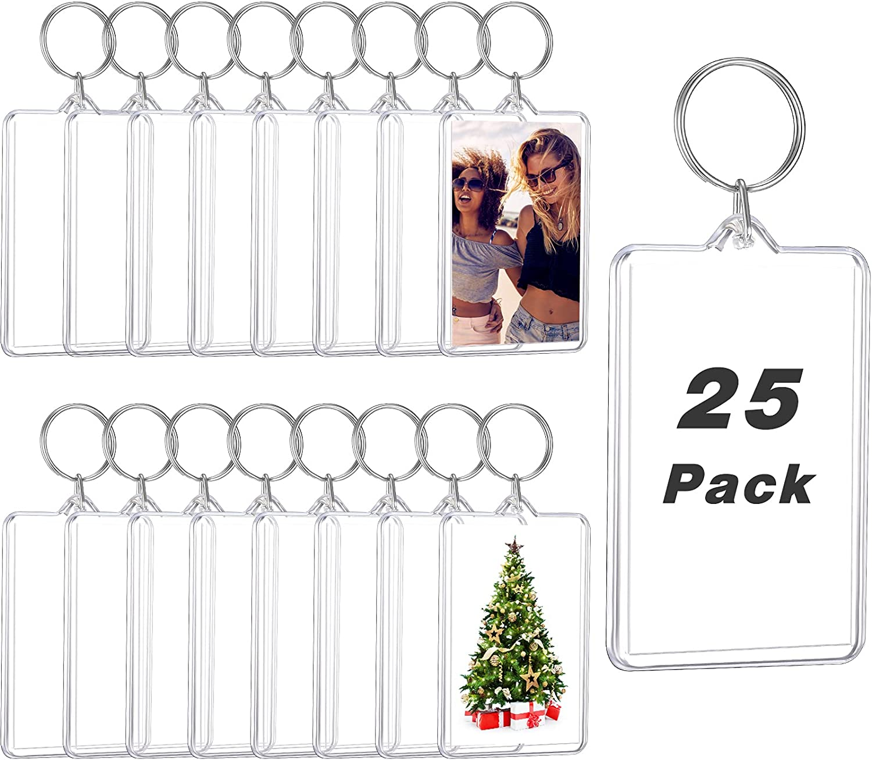 Acrylic Photo Frame Keychain Photo Insert Blank Keyring (25, 2 x 3 Inch)
