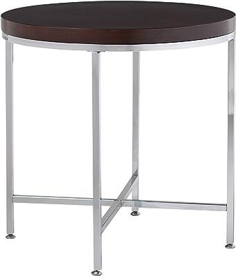 "Studio Designs Home Pergola Round Side Table, 26"", Chrome/Java"