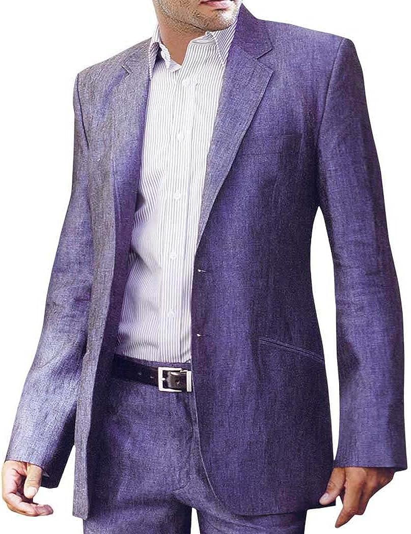 INMONARCH Mens Purple Linen 2 Pc Suit Two Button Partywear Regency LS07XL48