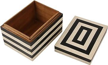 جعبههای دستی و تزئینی جواهرات تزئینی جعبه های نگهدارنده جواهرات سیاه و سفید استخوان جعبه دستباف از (مربع)