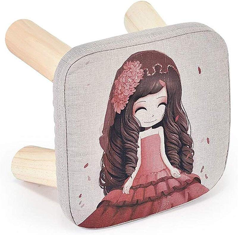 Carl Artbay Wooden Footstool Light Red Cartoon Girl Pattern Low Stool Changing His Shoes Stool Small Chair Sofa Wooden Bench Home