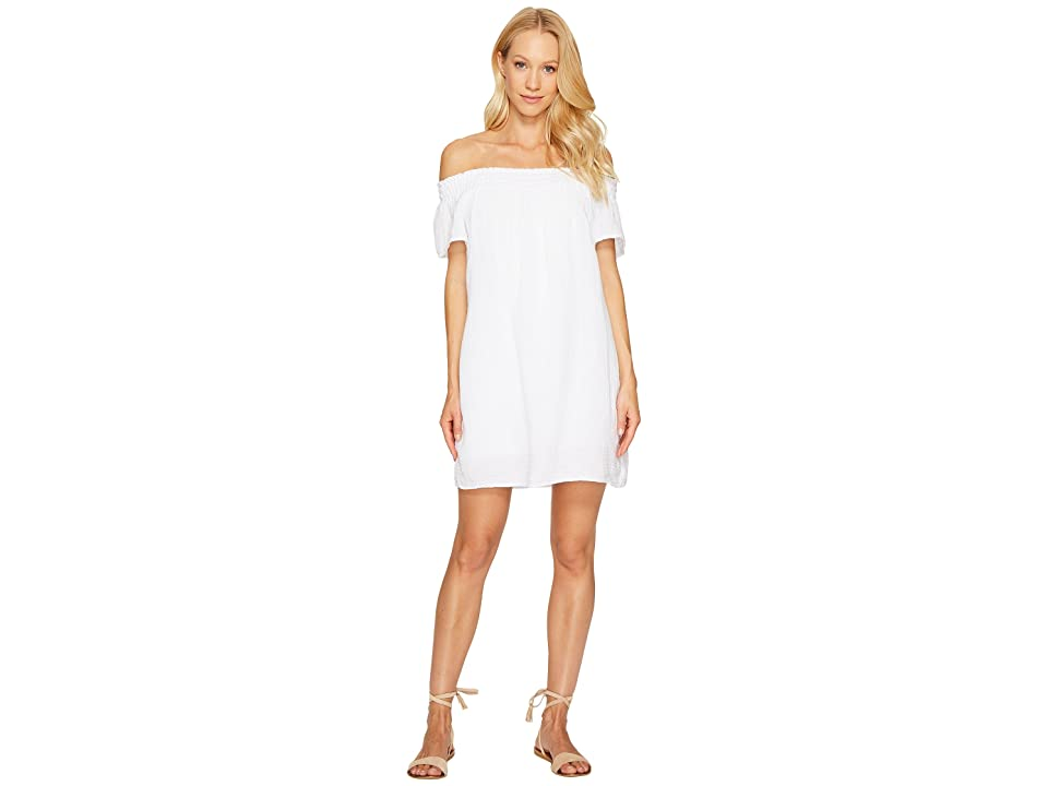 Michael Stars Double Gauze Smocked Off Shoulder Dress (White) Women