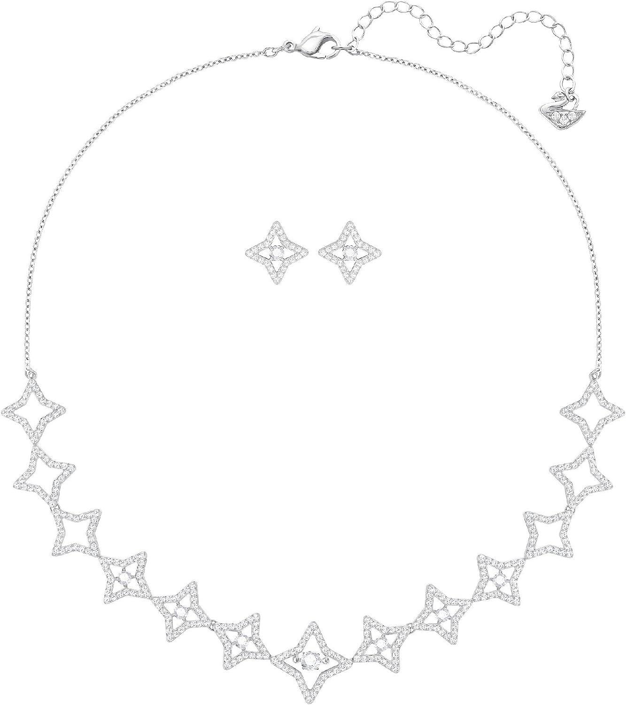 SWAROVSKI Ladies Sparkling Dance Star Set Medium White Rhodium Plating